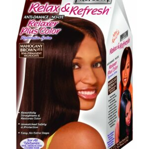 PROFECTIV RELAX & REFRESH NO-LYE RELAXER PLUS COLOR RESTORATIVE SYSTEM – MAHOGANY BROWN – 2 TOUCH-UPS OR 1 APPLICATION