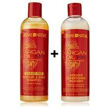 CREME OF NATURE Argan Oil Moisture Shine Shampoo & Intensive Treatment Set, 12 oz