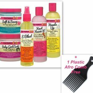 Aunt Jackie's 5-Pc Hair Set – Heads Up Shampoo + Soft & Sassy Conditioner + Knot Havin' It! Moisturizer + Baby Girl Curls Custard + E-Blast Scalp Remedy