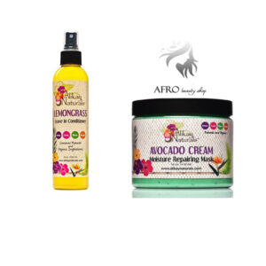 Alikay Naturals Avocado Cream Moisture Repairing Hair Mask &  Lemongrass Leave In Conditioner.
