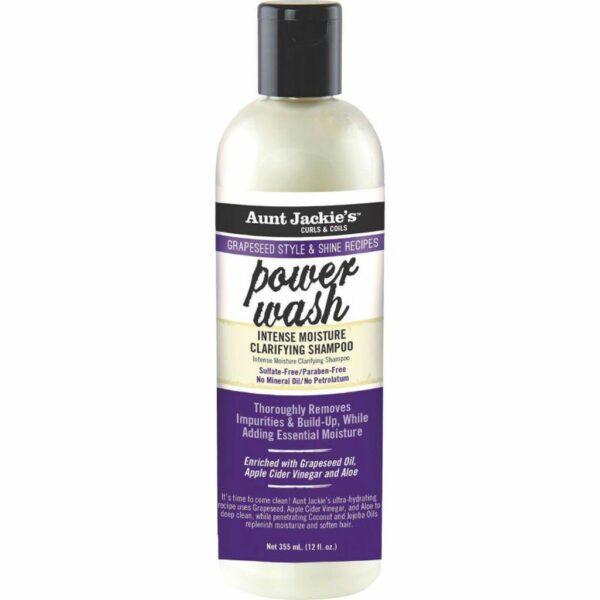 Aunt Jackie's Grapeseed Style & Shine Recipes POWER WASH Intense Moisture Clarifying Shampoo 355 ML / 12 Oz